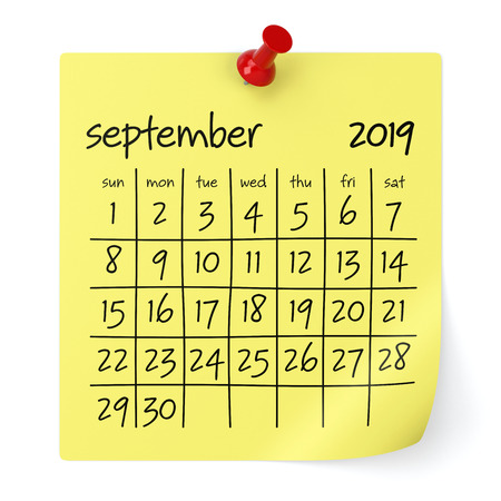 September 2019 Calendar. Isolated on White Background. 3D Illustration Фото со стока - 109087417