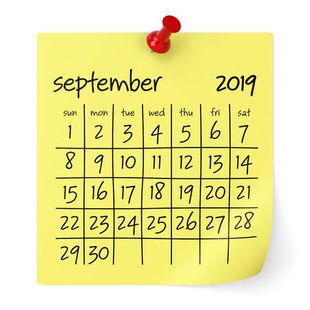 September 2019 Calendar. Isolated on White Background. 3D Illustration Imagens - 109087417