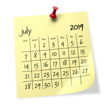July 2019 Calendar. Isolated on White Background. 3D Illustration Stock Photo
