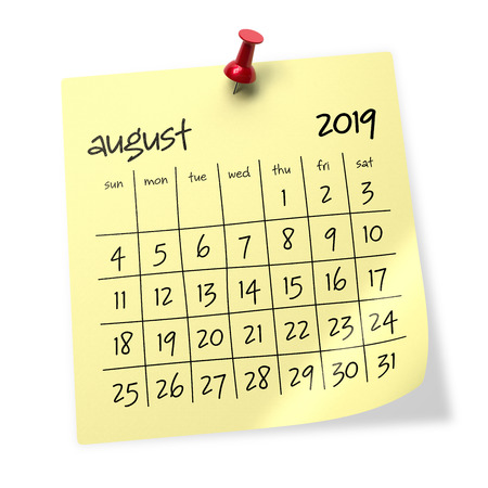 August 2019 Calendar. Isolated on White Background. 3D Illustration