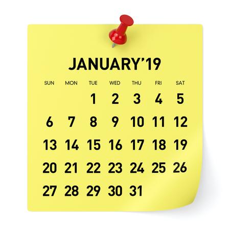 January 2019 Calendar. Isolated on White Background. 3D Illustration Stock Photo