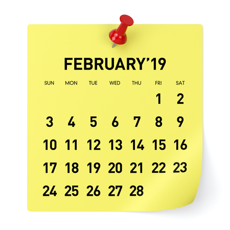 February 2019 Calendar. Isolated on White Background. 3D Illustration Stock Photo