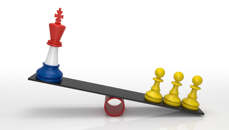Chessmen on scales. French government and yellow jackets facing. 3D Rendering Reklamní fotografie