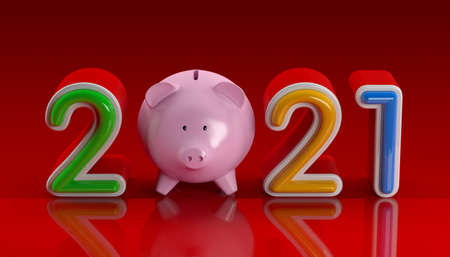 New Year Concept with Piggy Bank. 3D Rendering