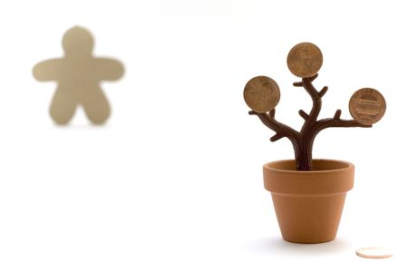 euphoric: money tree and figure Stock Photo