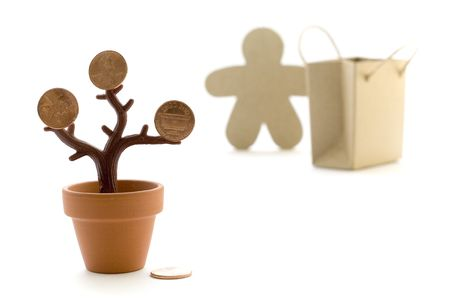 money tree, paper bag and figure