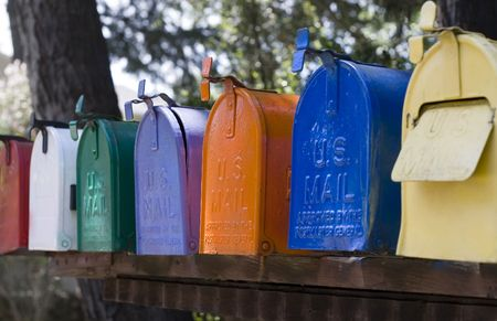 send mail: Row of mail boxes