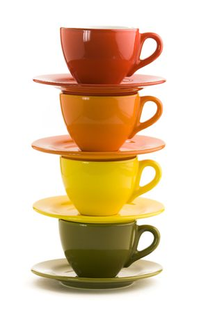 Color cups on a white background photo