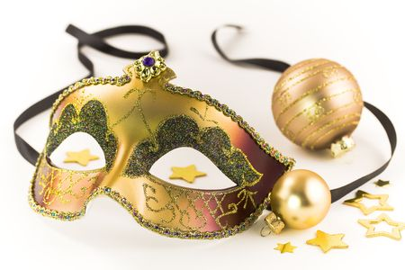 venician: Carnival mask and Christmas decorations on white background