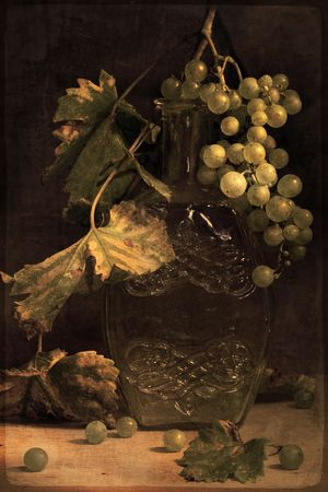 Autumn grape. Studio still life. Photo based mixed medium image. Extreme image softness, textures, and grain. Stock Photo - 3672099