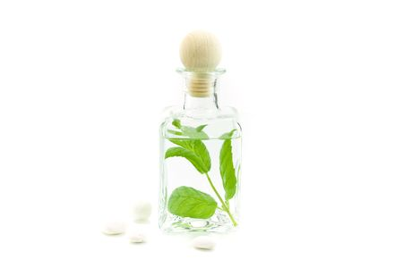 traquility: Jar with fresh leaves (SPA concept)