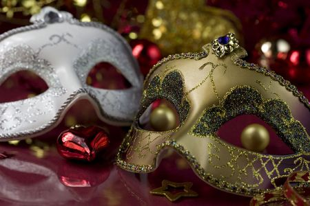 venician: Carnival masks and christmas decoration. Christmas concept Stock Photo