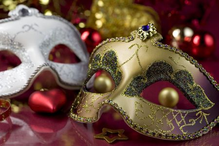 carnival masks: Carnival masks and christmas decoration. Christmas concept Stock Photo