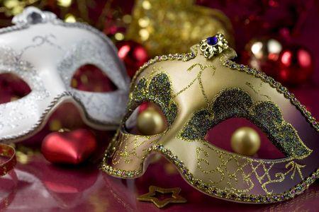 Carnival masks and christmas decoration. Christmas concept Stock Photo