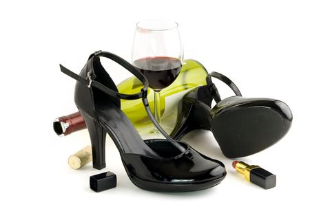 inebriated: Shoes wine and lipstick on white background