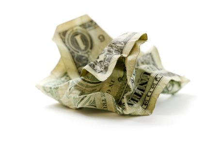 filthy: Crumpled Dollar on white