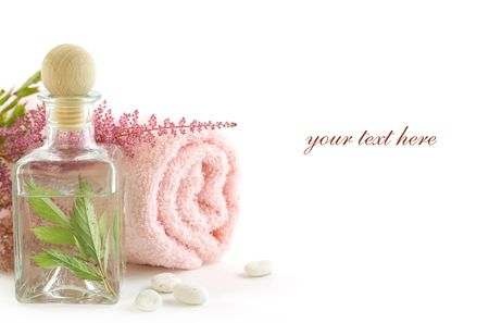 traquility: Jar with fresh leaves and towel (SPA concept) (with sample text)