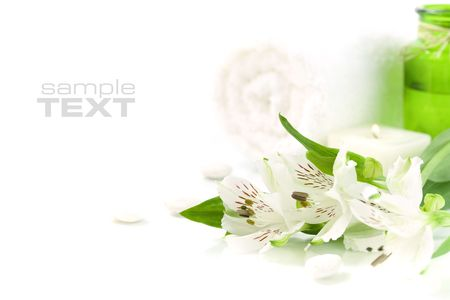 traquility: Candle, flowers and towel (SPA concept)