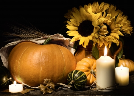 country life: Autumn still life with pumpkins, candles and flowers   Stock Photo
