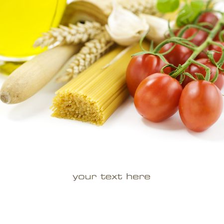 Italian ingredients over white. With sample text photo