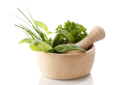 botanical medicine: Healing herbs over white Stock Photo