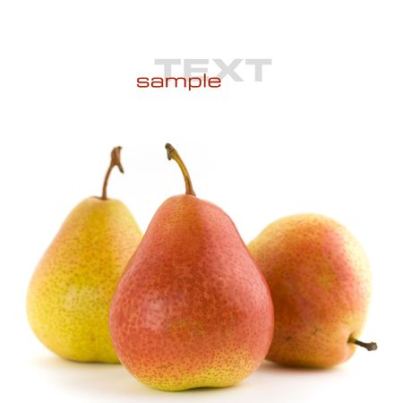 agronomy: Fresh red pears on white background. With sample text Stock Photo