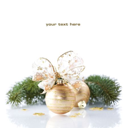 christmas backdrop: Christmas decorations on white background