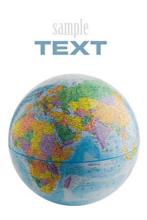 planisphere: Globo isolato su sfondo bianco (con testo di esempio)