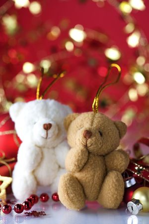 Christmas decoration with  two plush bears photo