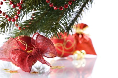 Christmas decorations on white background photo