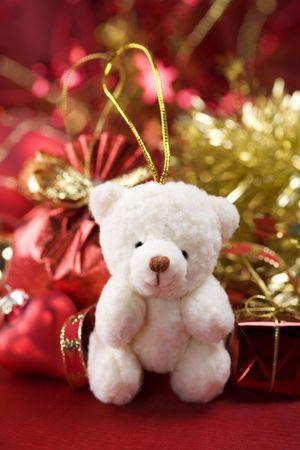 Christmas decoration with cute teddy bear photo