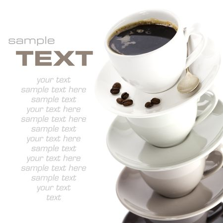 Color cups on a white background with sample text  photo