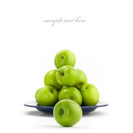 bountiful: Green apples on a white background