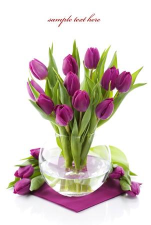 Roze tulpen in een vaas op witte achtergrond. Met voorbeeld tekst.