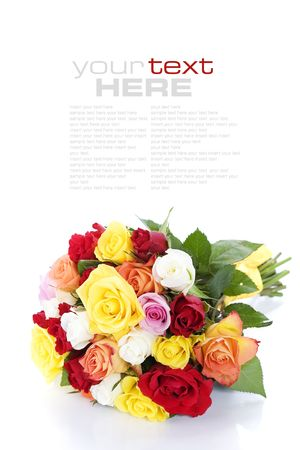 Bunch of multi-colored roses over white (with sample text) photo