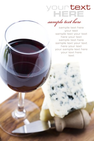 french text: Still life with red wine and cheese  (with sample text)