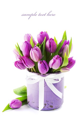 glass vase: Pink tulips on white background (with sample text)