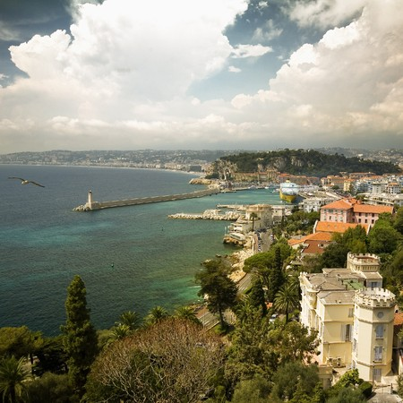 french way: View port of Nice, France  Stock Photo