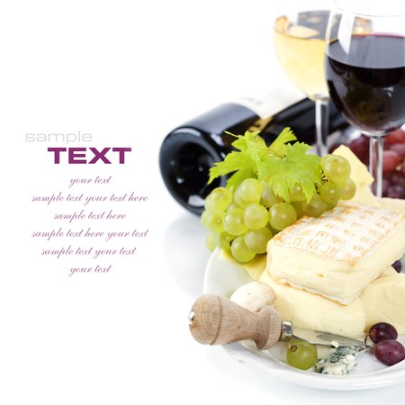french food: Grape and cheese with a bottle and glasses of red and white wine (with sample text) Stock Photo