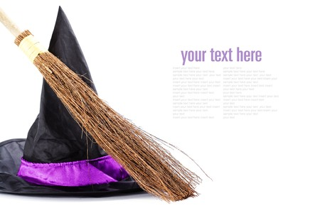 bewitch: Witch broomstick and hat isolated on white background (with sample  text)