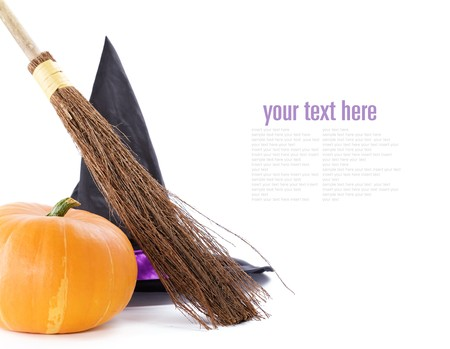 coven: Witch broomstick, pumpkin and hat isolated on white background (with sample  text)