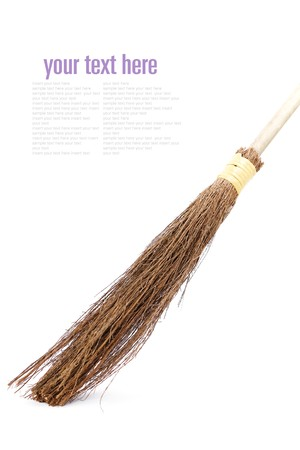Witch broomstick isolated on white background (with sample  text) Stock Photo - 7918109