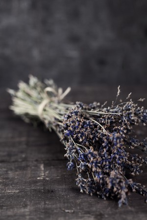 Bunch of dried lavender herb close up   photo
