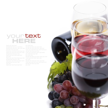 sample text: Glasses of white and rose wine and grapes over white (with sample text) Stock Photo
