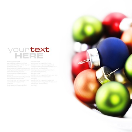 Colorful collection of Christmas Balls with sample text photo