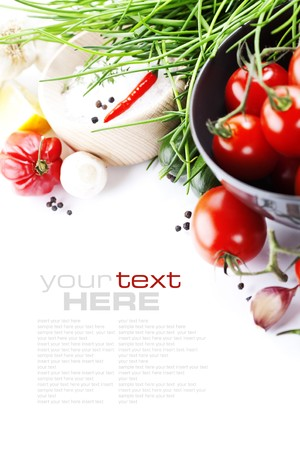 grow food: fresh vegetables on white with sample text