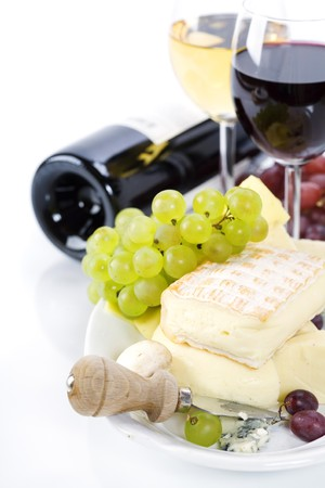 hard cheese: Grape and cheese with a bottle and glasses of red and white wine