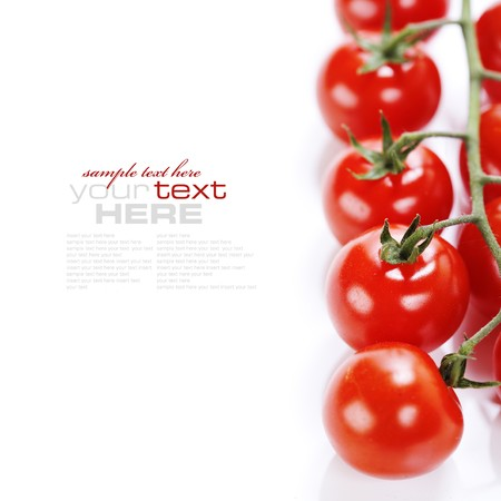 bunch of fresh cherry tomato on white background (with sample text) photo