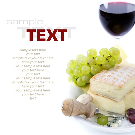 ricotta cheese: Grape and cheese with  glass of red and wine (with sample text) Stock Photo