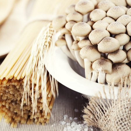 Raw Ingredients For Making Pasta (spaghetti, mushrooms) Stock Photo - 8388326